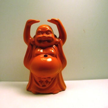 orange buddha figurine // upcycled ceramic figurines by nashpop