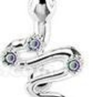 Body Accentz® Belly Button Ring Navel Flower CZ Snake Top Down Body Jewelry 14 Gauge