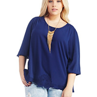 Crochet Inset 3/4 Sleeve Blouse | Wet Seal+