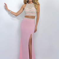 High Neckline Crop Top Blush Prom Dress 11065