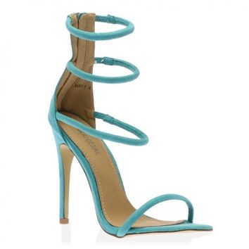 Nikki Strappy Stilettos in Aqua