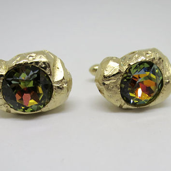 Swank Gold Nugget Watermelon Rhinestone Cuff Links Vintage Men's Cuff Links Jewelry Tuxedo Accessory Formal Wear