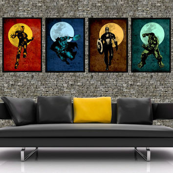 "The Avengers - Original super hero minimalist art movie poster prints 4x 11""x17""- Retro marvel illustration print poster."