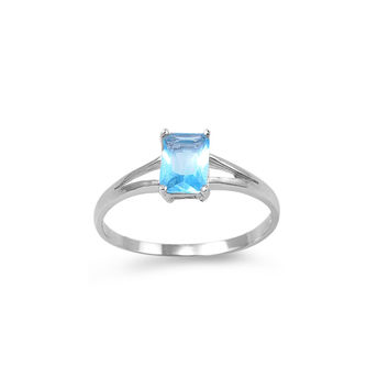 925 Sterling Silver CZ Solitaire Rectangular Simulated Aquamarine Ring 7MM