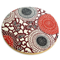 "Blossom trivet for hot pans, Japanese style, dark red   ""Emi"""