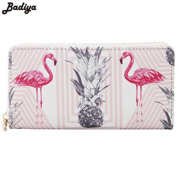 New Lovely Flamingo Print Fashion Women Long Wallet Large Capacity Clutch Purse With Phone Bag PU Leather Ladies Wallets