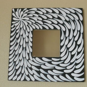 Mirror Painted White Flower Aboriginal Inspired by Acires on Etsy