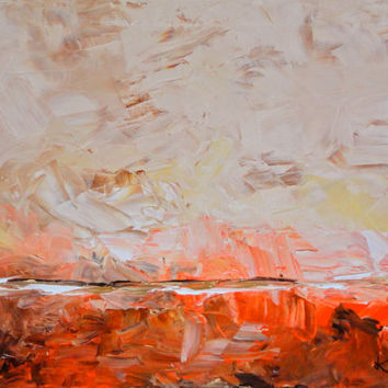 Original Abstract Landscape 18x24 Organic Orange Red Tan Modern Art Contemporary Painting on Stretched Canvas