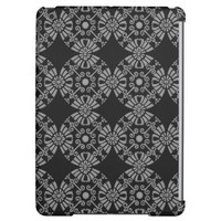 Classic Floral Motif Pattern Black and Gray iPad Air Case