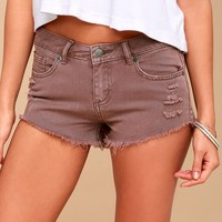 Hello Mellow Mauve Distressed Denim Shorts