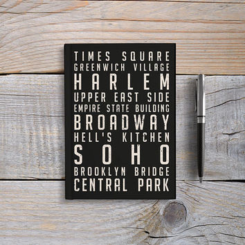 Writing Journal, Hardcover Notebook, Sketchbook, Diary, Subway Sign, Travel Journal, Blank or Lined pages - New York City, Brooklyn, Soho