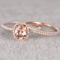 2pcs Morganite Bridal Ring Set,Engagement ring Rose gold,Diamond wedding band,14k,6x8mm Oval Cut,Promise Ring,Stacking thin matching band