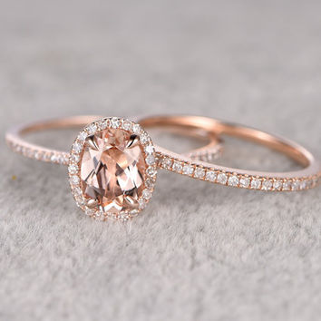 2pcs Morganite Bridal Ring SetEngagement Rose GoldDiamond Wedding Band14k