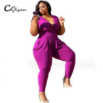 CUYIZAN 2017 Summer Style Rompers Womens Jumpsuit  Plus Size Women Clothing For Fat bodysuits 3XL Femme rompers womens jumpsuits