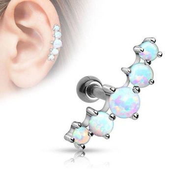 ac PEAPO2Q 1PC Ear Cartilage Piercings Surgical Steel Barbell With Opal Stone Ear Helix Tragus Earrings 16g Body Pircing Jewelry