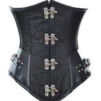 Steel Boned Steampunk Underbust Corset Black Brocade