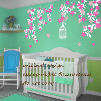 cherry blossom nursery decals tree decals kids wall decals baby decals  pink white girl wall art- Cherry Blossom vines