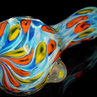 Tropical Citrus Splash Water Slide - Colorful Designs on Shiny Aqua Blue - Heady Spoon Pipe Blown Glass Smoking Bowl - Exquisite Top Swirl