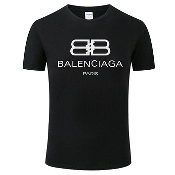 Balenciaga 2019 new breathable cotton men and women round neck half sleeve T-shirt Black