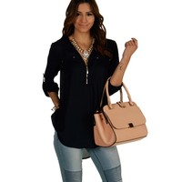 Promo-navy Zip Up Chiffon Top