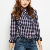 Button-down Plaid Shirt - Blue Multi