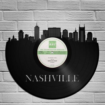 Nashville Art, Best Framed Art Vintage Wedding Gift For Couple, Nashville Skyline, Unique Birthday Gift For Wife For Sister, Tennessee State