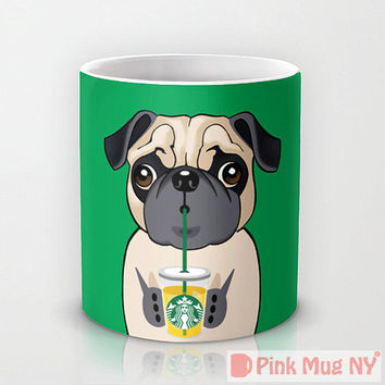 Personalized mug cup designed PinkMugNY - I love Starbucks - Pug