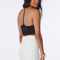 T BAR RIBBED CROP TOP BLACK