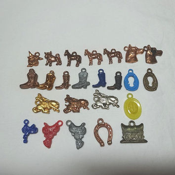 1960s Vintage 24 Pieces of Cracker Jacks Type Toys, Charms in Western Theme, Horses, Saddles, Boots, Bulls, Rope, Vintage Cracker Jacks Toys