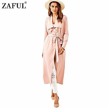 ZAFUL Spring Autumn Women Trench Coats New Fashion Belted Shawl Collar Rolled Up Long Sleeve Split Long Outerwear Ladies Coats