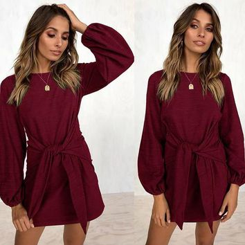 New Red Belt Round Neck Long Sleeve Casual Mini Dress