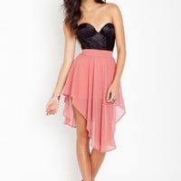 Asymmetric Chiffon Skirt - Blush - NASTY GAL