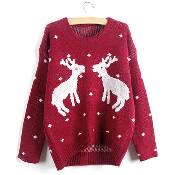 Batwing Sleeve Christmas Deer Print Pullover Knit Sweater