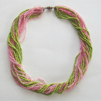 Vintage 50s 60s Multi Strand Glass Seed Beaded Necklace Twist Choker Green & Pink