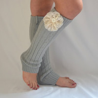 leg warmers - knit grey leg warmer with cotton flower chunky leg warmer girly leg warmer boot socks boot cuffs christmas gifts