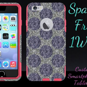 iPhone 6 Case - OtterBox Commuter Series - Retail Packaging - 4.7 iPhone 6 Glitter Smoke Polka Dots White Gold/Pink
