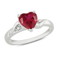 Sterling Silver Created Ruby and Accent Diamond Ring (0.01 Cttw, G-H Color, I3 Clarity)