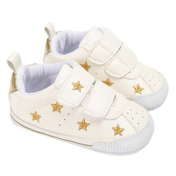 Newborn Baby Shoes Boys Girls Sneaker Gold Stars Pattern First Walkers Shoes For Child