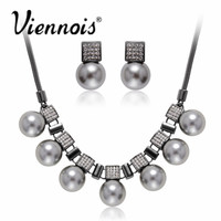 Viennois Classic Fashion Jewelry Set Simulated Pearl Stud Earrings Chain Necklace for Women Rose Gold/Gun Plated Colors