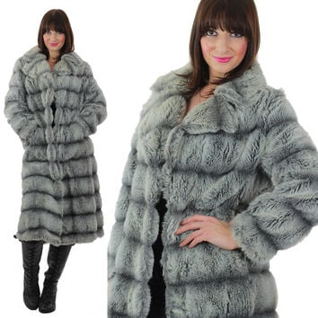 80s Faux fur coat Faux Chinchilla fur coat Cocktail party coat Long faux fur coat Glam fur coat Boho faux fur coat party coat M