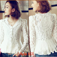 White Long Sleeve V-Neck Floral Lace Peplum Top