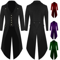 Gentlemen Men's Coat Fashion Steampunk Vintage Tailcoat Jacket Gothic Victorian Frock Coat Men's Uniform Costume