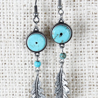 Turquoise Gong Earrings