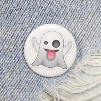 Ghost Emoji 1.25 Inch Pin Back Button Badge