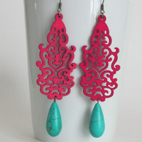 Hot Pink Earrings Fushia Neon Earrings by AdornmentsbyDebbie