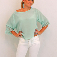 Diamond Eyes Crop Top in Mint -  $49.00 | Daily Chic Tops | International Shipping
