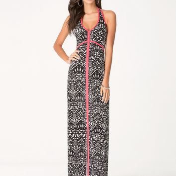 bebe Womens Print Maxi Dress Lasrmosaic1 Teaberry