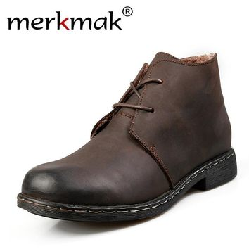 Vintage Men Boots / Genuine Leather Water Proof / Work / Hiking Ankle Boots
