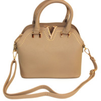 Beige Mini V Satchel Bag