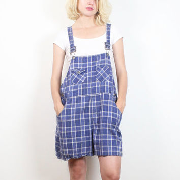 Vintage 1990s Blue Plaid Overall Shorts Soft Grunge Slouchy Dungarees Jumper 90s Shorts Overalls Romper Playsuit Shortalls M L Large XL